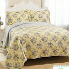 BEAUTIFUL REVERSIBLE YELLOW PURPLE FLORAL VITNAGE QUILT SET NEW! ALL SIZES