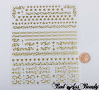 Jumbo Large Sheet 3D Nail Art Stickers Scrolls Hearts Silver Gold