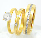New 3pc Women & Men Stainless Steel Gold Plated CZ Engagement Wedding Band Rings