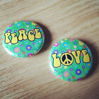 PEACE AND LOVE 25MM / 1 INCH BUTTON BADGE SET 60s HIPPY PARTY RETRO