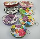 Two Small Pouches Coin Purses Vinyl Flowers Designs