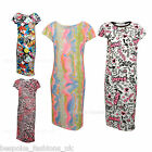 New Kids Girls New Printed Cap Sleeve Bodycon Midi Dress Ages 2 to 13 Year Old