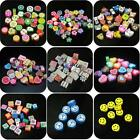 Nail Art DIY Slice mixed fimo Polymer Clay Spacer Beads Hole 6mm 10mm Mix Color