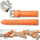 NEW Leather Wrist Watch Bands Straps Stainless Steel Buckle - Orange 12mm-24mm