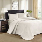 BEAUTIFUL CLASSIC XXL IVORY WHITE TEXTURED FLORAL SOFT BEDSPREAD QUILT SET NEW! image