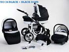 SILVER BABY TRAVEL SYSTEM 3in1 PRAM PUSHCHAIR CAR SEAT NEW 37  COLOURS