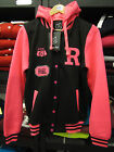LADIES GIRLS BLACK NEON PINK HOODED HIP HOP BASEBALL COLLEGE SWEATSHIRT JACKET