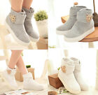 Womens Middle High Shoes Flats Ankle Boots Velcro Strap Cotton Blending Size6-9