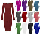 WOMENS LONG SLEEVE MIDI STRETCHY JERSEY PLAIN LADIES BODYCON DRESS 8-26
