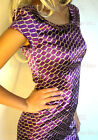 NEW 60's Purple & Gold Chain Print Peter Pan Collar Cap Sleeves Shift Mini Dress