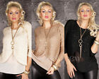 Womens Jumper Wrap Look Sequins Chiffon Lined New Warm Knitted Top One Size