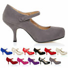 NEW WOMENS STRAP MID HEEL CASUAL SMART WORK PUMP COURT SHOES SIZE 3 4 5 6 7 8