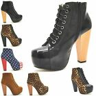 NEW LADIES BLOCK HEEL ANKLE HIGH BOOTS WOMENS LACE UP PLATFORM BOOTIES SHOE SIZE