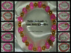 8MM LIGHT PINK CRACKLE BEADS STRETCH BRACELET ~ GOLD OR SILVER ~ CHARMS