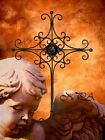 ART PRINT Rustic Metal Cross Against Angel Cherub Matted Picture A252
