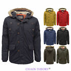New Brave Soul Mens Padded Lined Faux Fur Hooded Parka Winter Jacket Coat S-XL