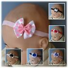 Double Spotty Satin Bow Baby Headband- different colours to choose (40mm bow)