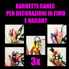 3X BARRETTE CANES IN FIMO PER DECORAZIONI E NAILART materiale creativo fai da te