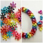 60 Acrylic triangle spacer/ snowflake beads 10mm or 14mm mixed colours  jeweller