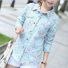 "Cotton Floral Blouse Women""s Long Sleeve Button Down Denim Shirt  [JG]"