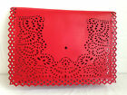 NEW OVERSIZE RED CLUTCH BAG DAY EVENING VALENTINE XMAS FAUX LEATHER LACE EFFECT