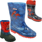 **KIDS BOYS SPIDERMAN WINTER SNOW MOON MUCKER WATERPROOF WELLINGTON WELLIES BOOT