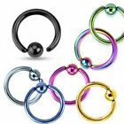 "14G 16G 18G Titanium IP ""One Side Fixed Ball"" Captive Bead Ring"