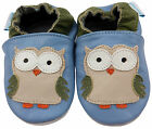 NEW SOFT LEATHER BABY & TODDLER SHOES 0-6,6-12,12-18,18-24 Mth & 2-3 Yr BLUE OWL