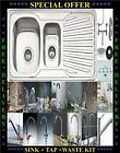 New Design 1.5 Bowl Stainless Steel Kitchen Sink & Waste kit With Choice of Taps
