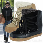 AnnaKastle New Womens Slouch Suede Shearling Hidden Wedge Ankle Boots US 5 6 7 8