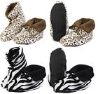 Ladies Cosy Slipper Boots Womens Slenderella Zebra Faux Fur Slippers Loungewear