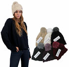NEW WOMENS MENS CHUNKY KNIT TURN UP DESIGNER BOBBLE BEANIE HAT WITH MIXED YARN