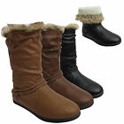 LADIES WARM FUR LINED WOMENS BUCKLE FAUX LEATHER WINTER SLOUCH BOOTS SHOES UK SZ