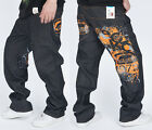 #L HIPHOP Ecko Men Cool Sports SkateBoarding Orange Graffiti design Pants Jeans