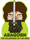 ICONZ CARTOON TEE SHIRT ARAGORN LORD OF THE RINGS TOLKIEN RANGER OF THE NORTH