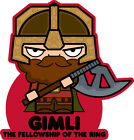 ICONZ CARTOON TEE SHIRT GIMLI DWARF WARRIOR LOTR TOLKIEN FELLOWSHIP OF THE RING