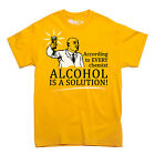 ALCOHOL IS A SOLUTION science and chemistry t-shirt nerdy MEN'S SIZES S-XXL