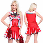 Glee Club style Cheerleader Costume Cheerleading Fancy dress outfit w/ Pom Poms