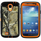 For Samsung Galaxy S4 i9500 Heavy Duty Orange Tree Camo Case