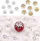 200 Pcs Wholsale Filigree Hollow Flower End Spacer Metal Bead Caps DIY Findings