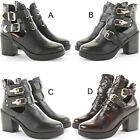 Womens Chelsea Booties High Heels Block Shoes Platform Cut Out Ankle Boots Size