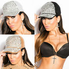 Women's Winter Rabbit Fur Oversize Baseball Trucker Cap Hat Diamante Sequins