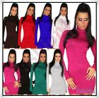 Sexy Women's Turtleneck Jumper Dress Ladies Everyday Pullover One Size 6,8,10 UK