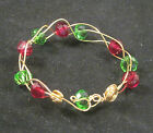 Hypo allergenic Gold Handmade bangle bracelet green, red crystals Marie USA #443