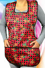 Ladies Cooking Holiday Red Christmas Print Cobblerette Bib Aprons Made in USA