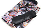 Mens Black Multi Coloured Paisley Design Shirt Matching Tie Italian Funky S-XXXL