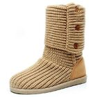 US5-8 Womens Winter Knit 3 Buttons Sweater Crochet Faux Suede Flat Boots  [JG]