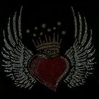 Red Heart and Gold Crown on Wings Rhinestone Iron on Hotfix