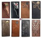 Long Custom Montana West Genuine Hand Tooled Leather Wallet Choose your Concho