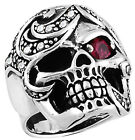 STAINLESS STEEL SKULL HEAD RINGS WITH STONE IN THE HEAD, SIZES 10-14 R2